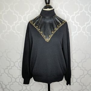St. John Collection Knit Faux Leather Bib Sweater
